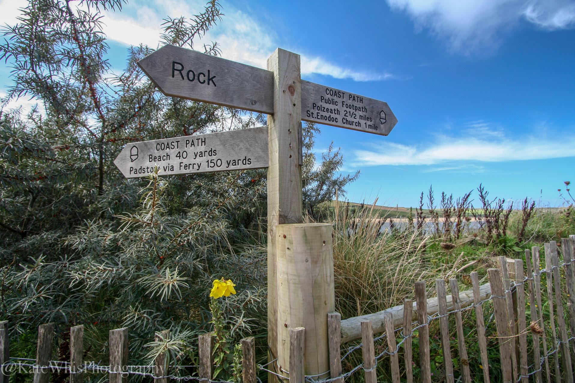 Footpath sign at Rock
