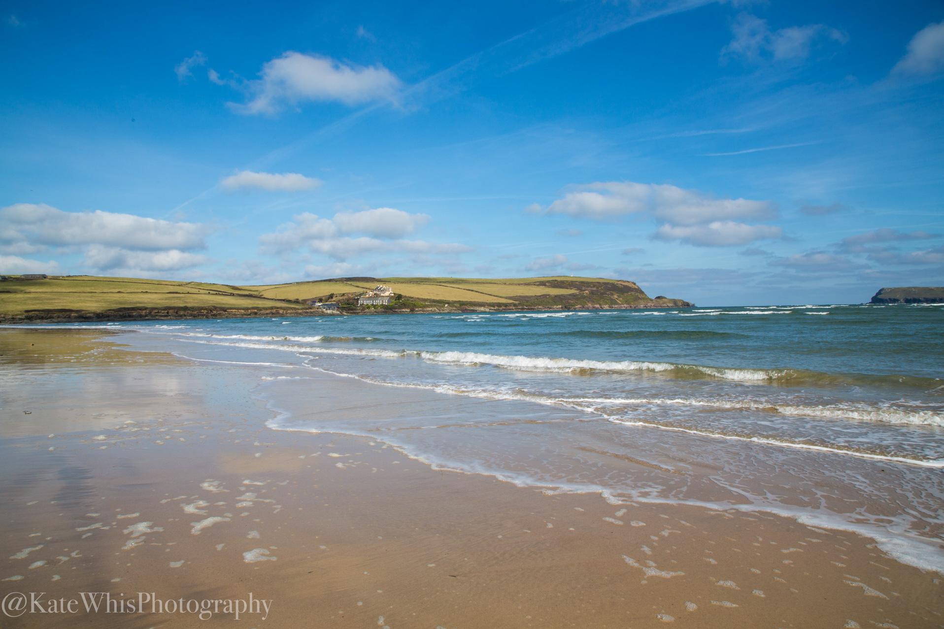View looking over Tregirls beach, Cornwall