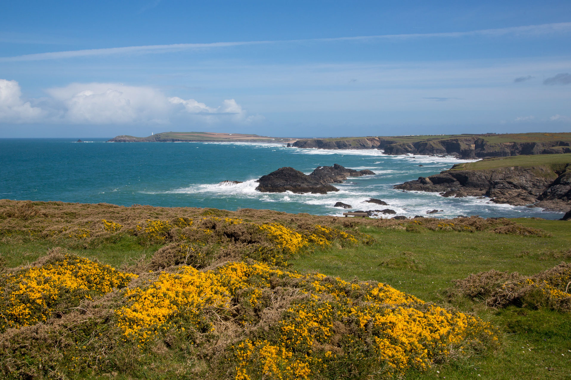 View across the rugged North Cornwall coastline towards Trevose Head close the Bedruthan Steps