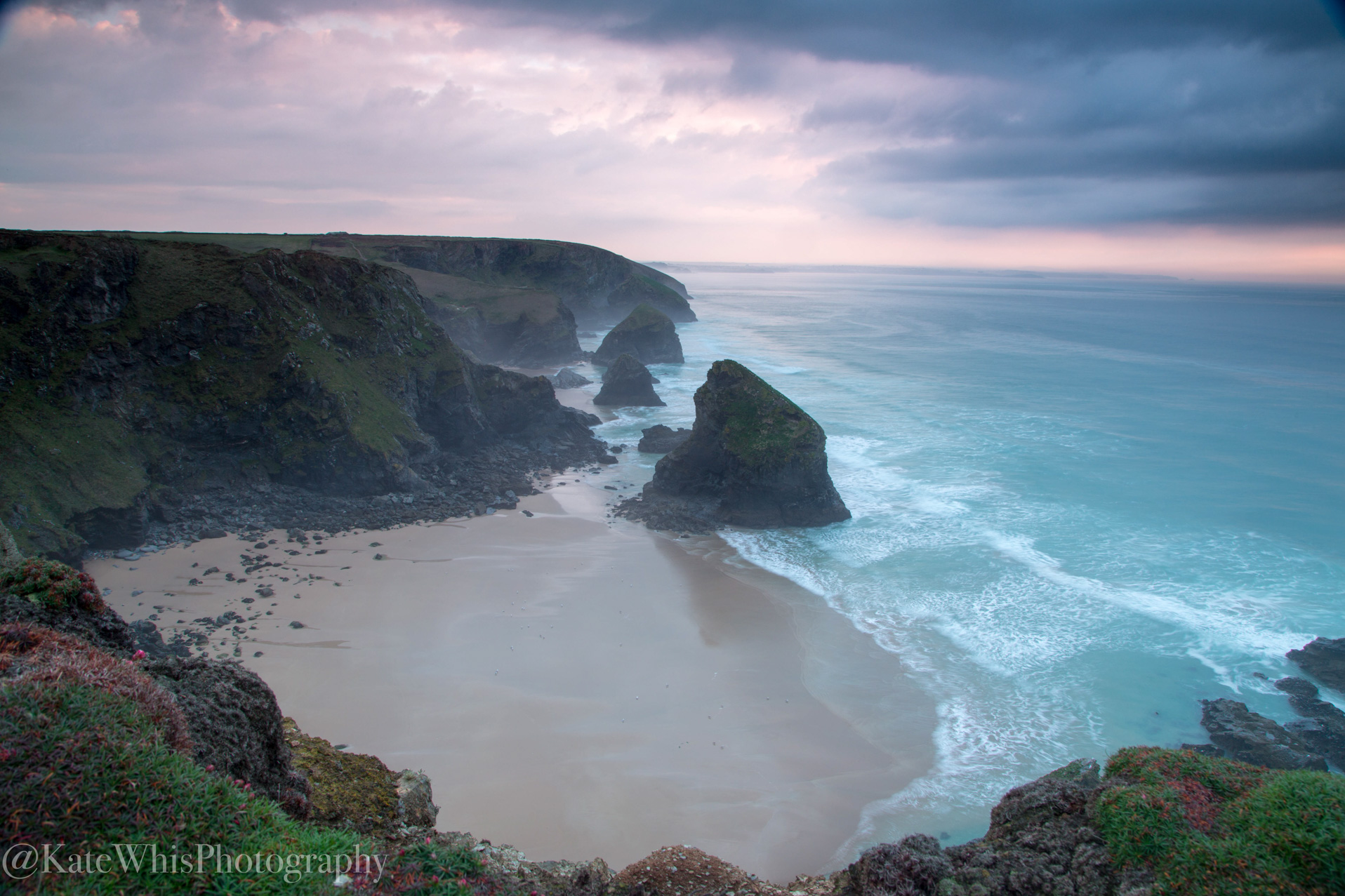 View of Bedruthan Steps, Cornwall at sunset