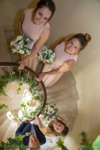 Bridal group on the stairs