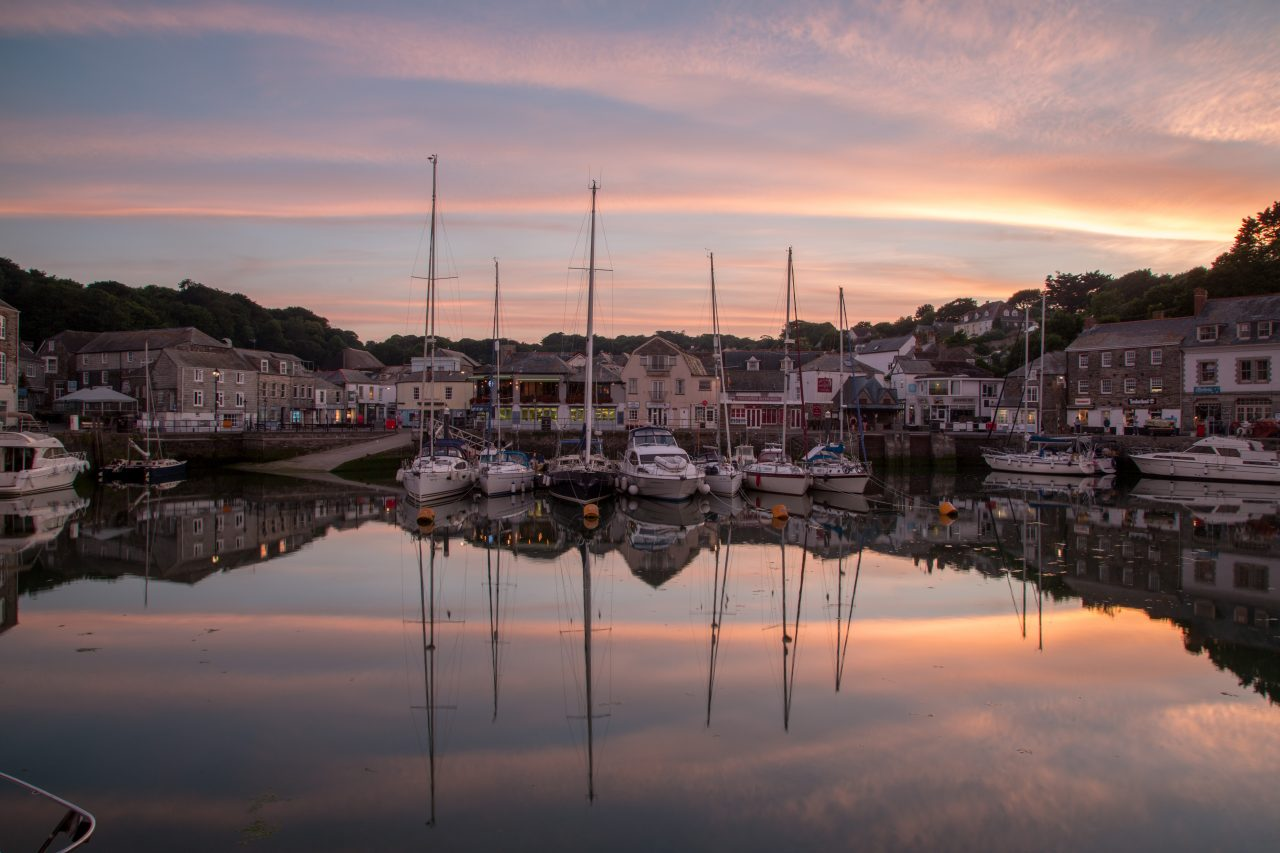 Sun setting over Padstow Harbour, Cornwall.