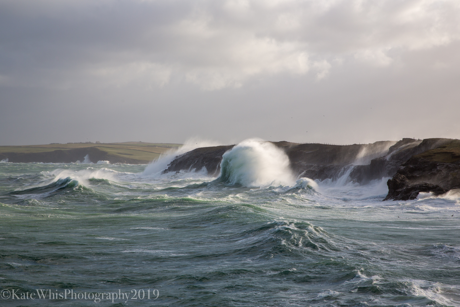 Photograph of big waves at Mother Ivey's Bay
