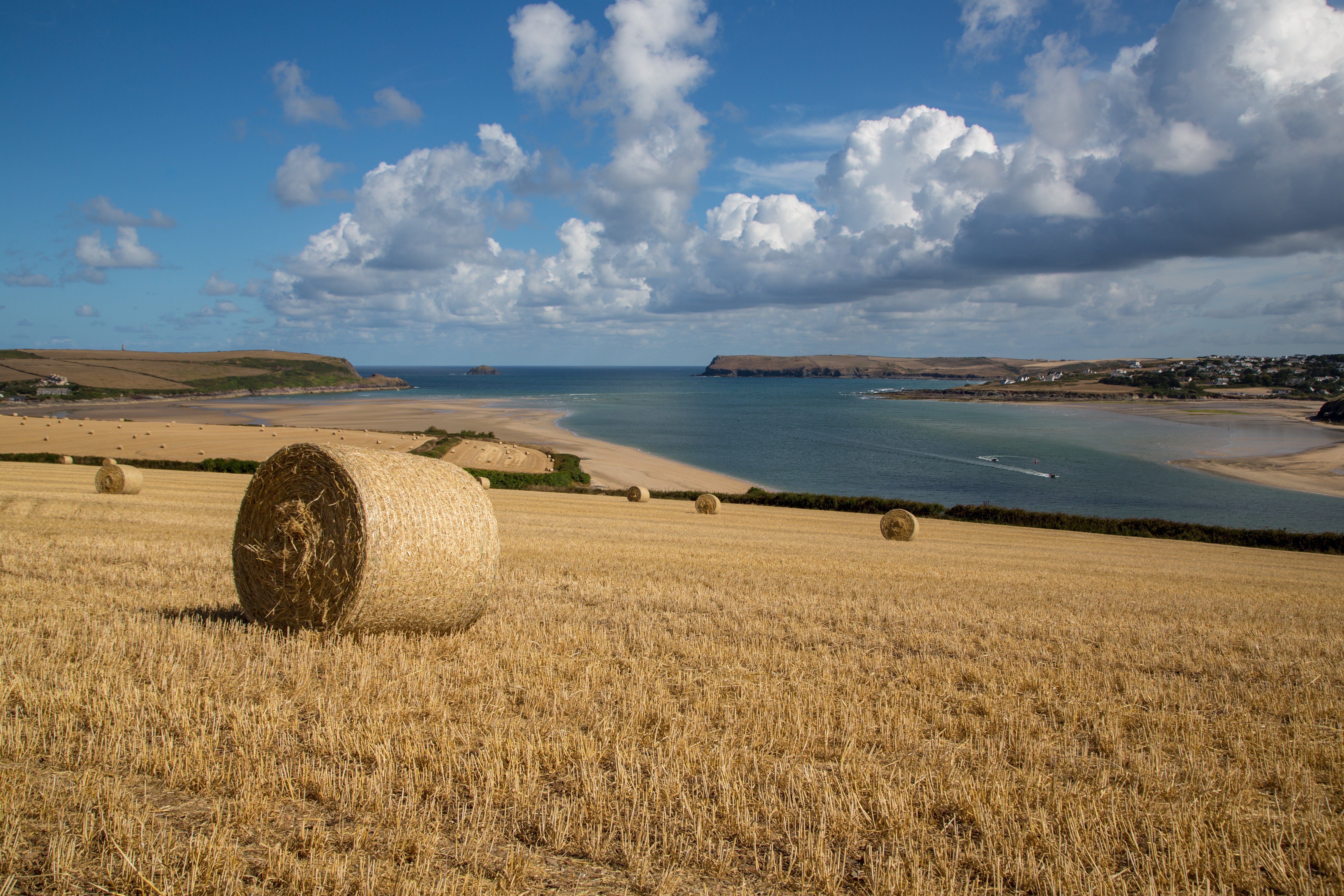 hay bales overlooking the camel estuary