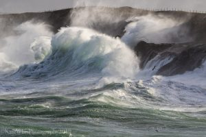 Photograph of stormy seas at Mother Ivey's Bay