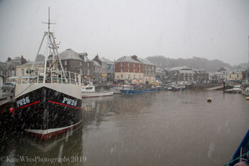Padstow harbour in the snow