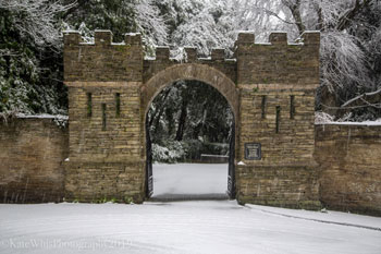 Pideaux Place gate in the snow