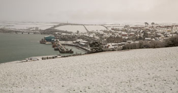 Padstow from above in the snow