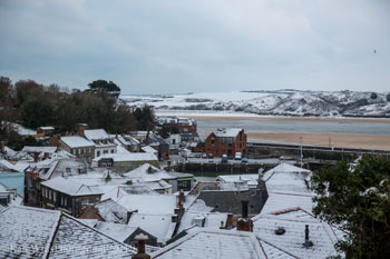 Padstow roof tops in the snow
