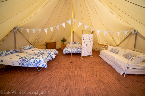 Glamping bell tent at The Oaks