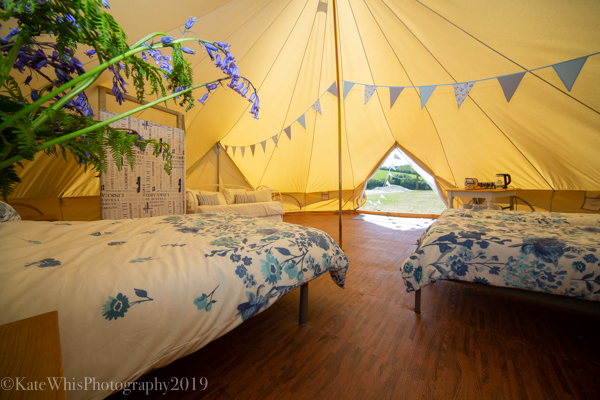 Inside the bell tent at The Oaks