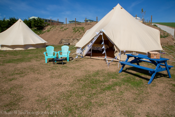 Outside the bell tent at The Oaks