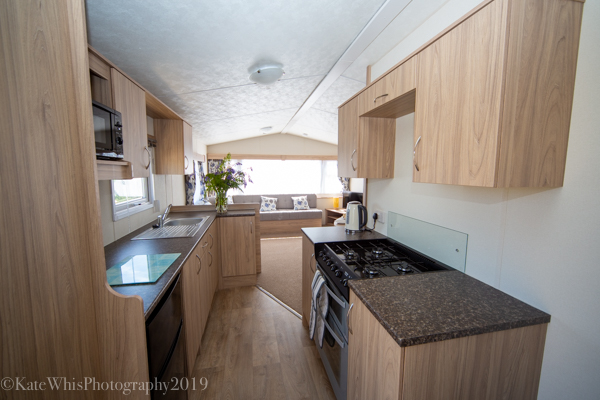 Kitchen in the caravan at The Oaks